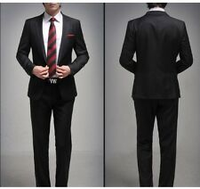 Black Mens Formal One Button Slim Business Wedding Suit Set Jacket+pants