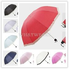 Womens Ladies Sweet Dome Lace Trim Polka Dot Umbrella Sun Rain W0006 LJN