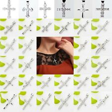 New Solid 925 Sterling Silver Jesus Crucifix Cross Pendant for Chain Necklace