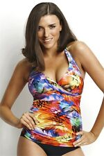 Seafolly Festival Feather DD / E Cup Wrap Front Tankini Top RRP $139.95