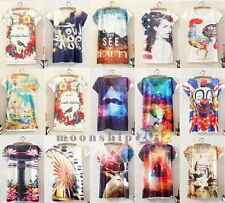 Hot Sale Theme Printing Women Lady Loose Long Section Vest Short Sleeve T-Shirt
