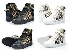 Womens Lace Up Strap Ankle Boots High Top Sneakers Black Leopard Rivets ShoeJ945