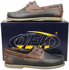Mens New Blue Leather Lace Up Moccasin Deck Boat Shoes Size 6 7 8 9 10 11 12