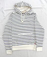 NEW LEVIS CREAM & NAVY STRIPE PULL OVER HOODED TOP JACKET