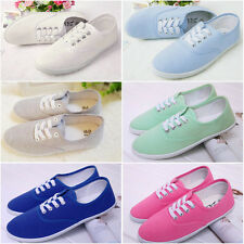 Women Lace Up Canvas Casual Flat Moccasins Loafers Sneakers Shoes 6 Candy Colors
