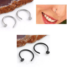 2x Celebrity Fashion Stainless Steel Open Hoop Nose Ring Earring Body Piercing