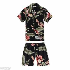 Boy Toddler Aloha Shirt Set Shorts Beach Hawaiian Cruise Luau Black Rafelsia