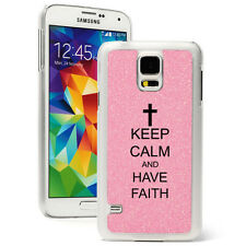 For Samsung Galaxy S3 S4 S5 Glitter Bling Case Cover Keep Calm Have Faith Cross
