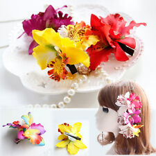 Mixed Women Ladies Orchid Flowers Hair Clips Beach Summer Hairpin Party Corsage
