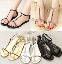 Women T Bar Open Toe Strap Buckle Paillette Summer Beach Flat Sandal Shoes