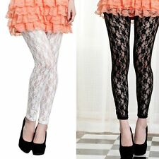 Women New Sexy Floral Rose Pattern Lace Legging Ankle Length Footless Tights