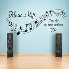 Music is life thats why our hearts have beats Wall Sticker bedroom Vinyl Decal