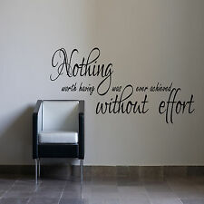 Nothing Worth Having Inspirational Wall Sticker Bedroom office study Vinyl Decal