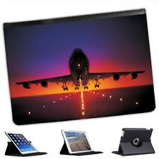 Plane Taking Off from Runway At Dusk Sky Colours Folio Leather Case For iPad Air