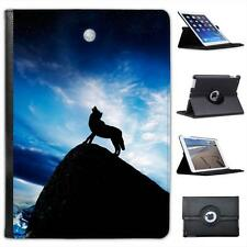 Silhouette Of Wolf On Mountain Howling At Full Moon Leather Case For iPad Air