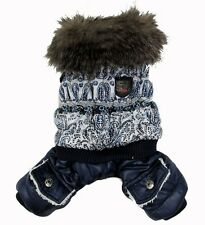 Blue Bubble Padded Jumpsuit Trench Fleece Coat Small Dog Cat Clothes Costume