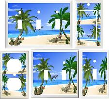 TROPICAL PALM TREES DOLPHINS BEACH OASIS HOME DECOR SWITCH OR OUTLET COVER V651