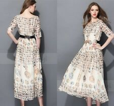 Women's 2014 T Stage Show Greek Golden Coins Printed Half Sleeve Long Dress Size