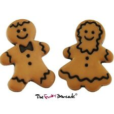 FUNKY GINGERBREAD STUD EARRINGS CUTE QUIRKY BISCUIT FOOD RETRO KITSCH COOL GIFT