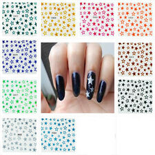 N37 Nail Art Sticker Piece 12 Styles 3D Glitter Star Blue Orange Silver Red