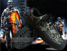 Mens Camouflage Military Training Shoe Hiking Outdoor Canvas Training Flat Shoes