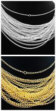Lots 30/50/100pcs Silver/Gold plated chain Necklace finding  48cm,2mm