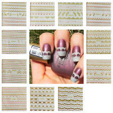 N54 Nail Art Sticker Lace 12 Styles Flower Heart Bow Dot Pink Gold