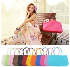 Women Straw Summer Weave Woven Shoulder Tote Shopping Beach Bag Purse Handbag