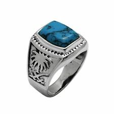 925 Sterling Silver 20mm Blue Turquoise Stone Men's Ring size 9 10 11 12 13