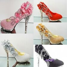 Fashion Womens High Heel Bling Bling Wedding Bridal Pump Floral Shoes Stiletto