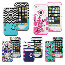 Hybrid Rugged Rubber Hard Shockproof Case Cover Skin for Apple iPhone 5 5S