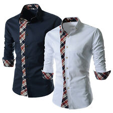NEWEST Trendy Sexy Mens Stylish Long Sleeve Dress Shirt Tops Blouse 2 Color XS-L