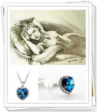 Heart Of The Ocean Titanic Jewelry Ring,Necklace,Earring celebrity Rose's Set