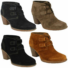 CARLETA LYON LADIES CLARKS SUEDE LACE UP HEELED CASUAL SHOES WINTER BOOTS SIZE