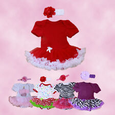 New Kids Girl Newborn Dress Baby Headband+Romper+Shoes 3pcs Outfits Clothes