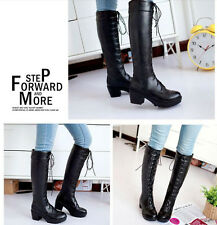 Women/mens new Lace up Chunky high heels cosplay knee high knight boots shoes