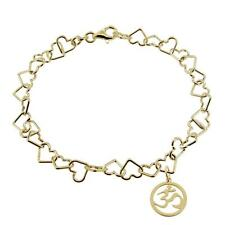 9ct Gold Plated On Silver Heart Link Charm Bracelet With Om Aum Ohm Charm Gift