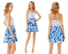 2014 $208 Lilly Pulitzer Ferris Strapless Dress White Blue Cotton Eyelet 0061012