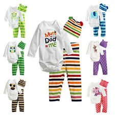 LOVELY Kid Baby Boy Romper Top + Hat + Long Pants Outfit Sets Toddlers Clothing