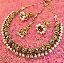 Festive stones with antique South India Temple rope work pearl necklace set ab39