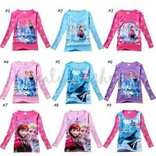Girls Frozen Elsa Anna Olaf Long Sleeve Kids Top Blouse T-Shirts Clothes 2T - 7