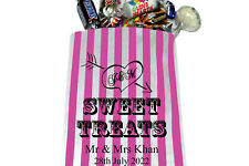 PERSONALISED Sweet Treats ❤ Wedding Sweet Bags Pink  & White Candy Striped