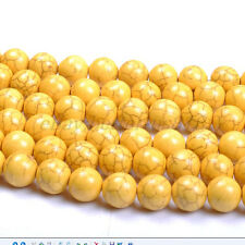 Yellow Turquoise Round Charms Loose Spacer BEADS Choose - 6MM 8MM 10MM 12MM 14MM