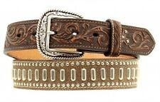 Ariat Western Mens Belt Leather Tooled Cross Studs Brown A1012602