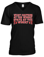 What Happens At The Winery Stays At The Winery Funny Vino Mens V-neck T-shirt