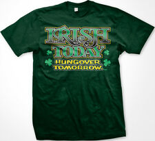 Irish Today Hungover Tomorrow St Patricks Day Funny Clovers Charm Mens T-shirt