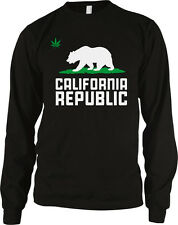 Pot Leaf Grizzly Bear California Republic Cali Life Weed 420 Long Sleeve Thermal