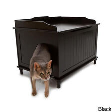 White Black Catbox Hidden Litter Enclosure Pet House Furniture Covered Cat Box
