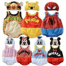 Baby Rompers Jumpsuit with Hat 2 pieces set Various Cartoon Pattern 1-3T