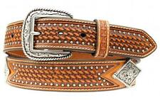 Ariat Western Mens Belt Leather Floral Diamond Concho Studs Brown A1013608